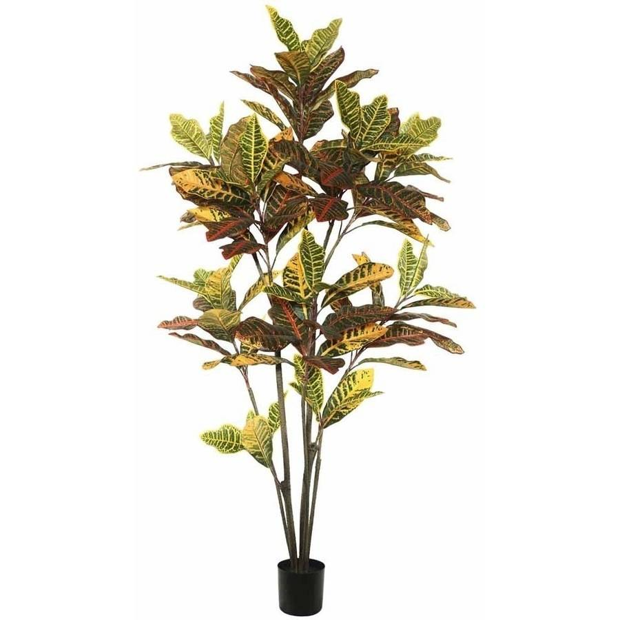 Vickerman 5' Potted Artificial Green and Orange Cronton Tree with 104 Leaves