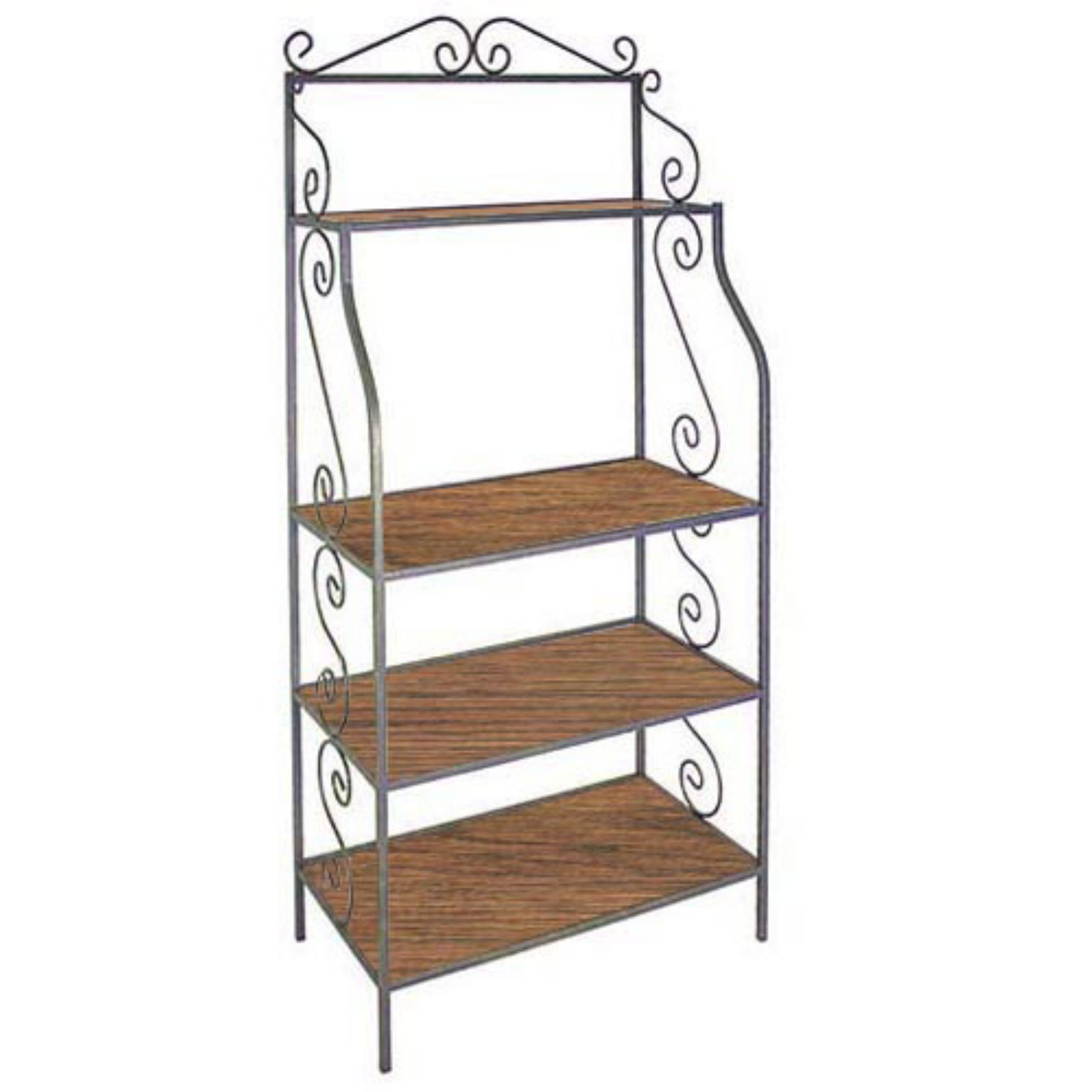 Austine Bakers Rack with Wood Shelves