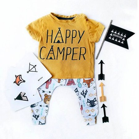 Happy Camper Toddler Kids Baby Boys Short Sleeve Tops T-Shirt + Animals Printed Long Pants 2PCS Outfits Set Clothing