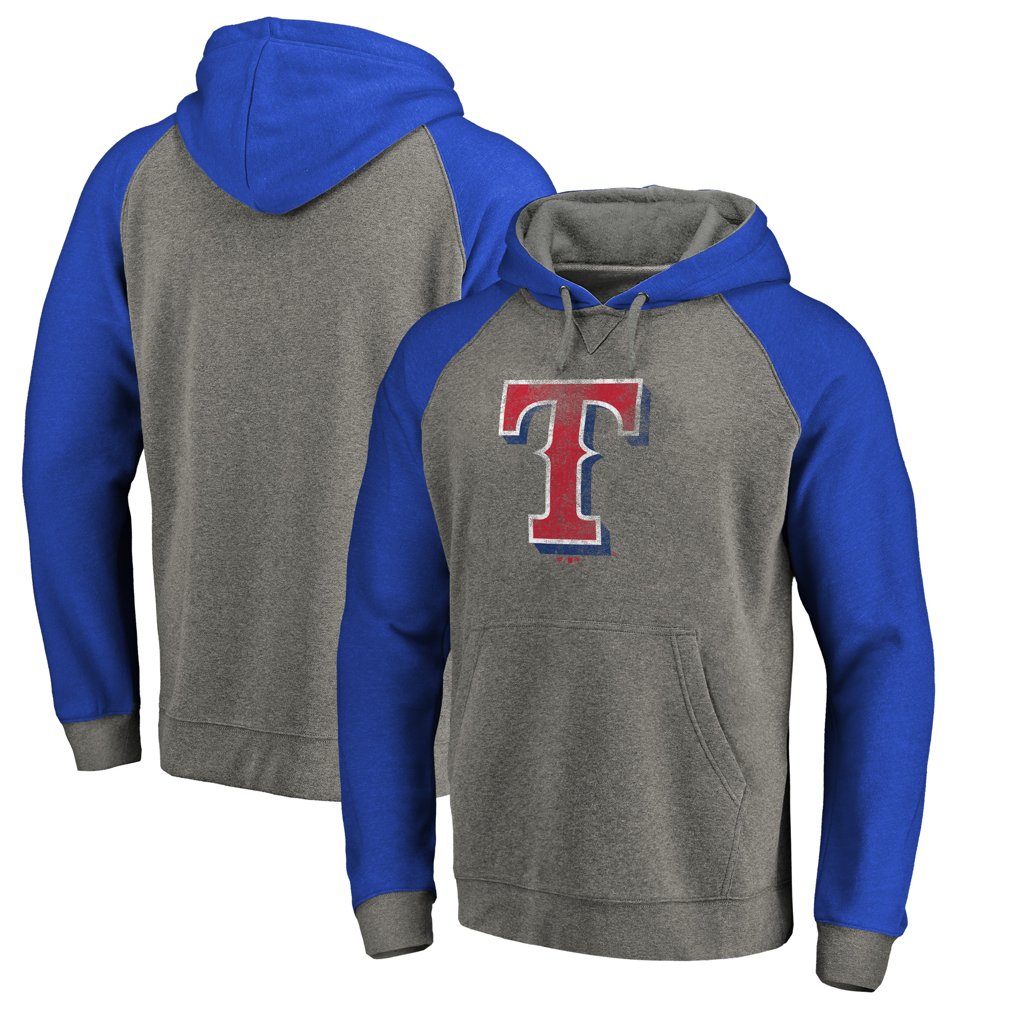 Texas Rangers Fanatics Branded Distressed Team Logo Tri-Blend Big & Tall Raglan Pullover Hoodie - Gray/Royal