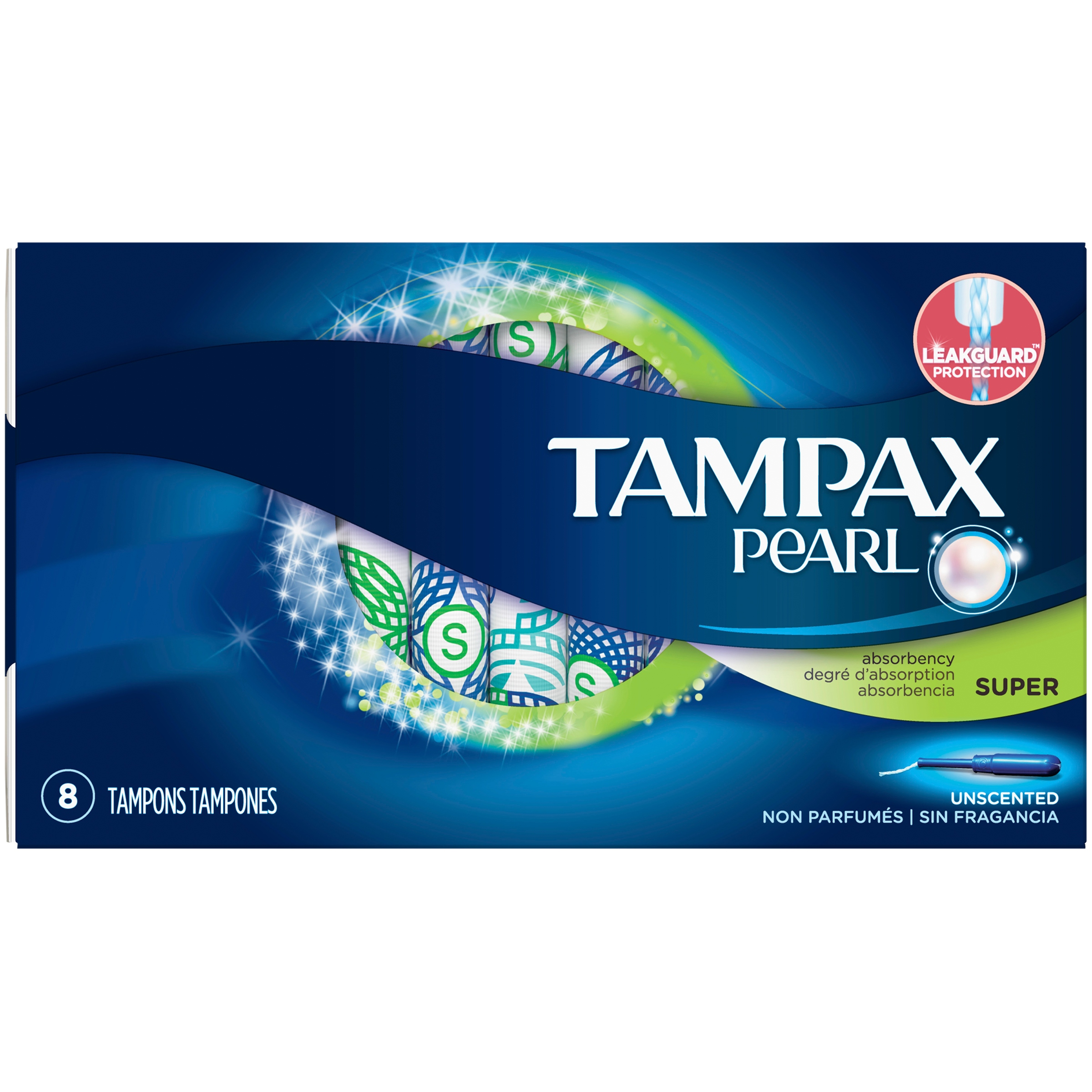 Tampax Pearl Super Unscented Tampons 8 ct Box