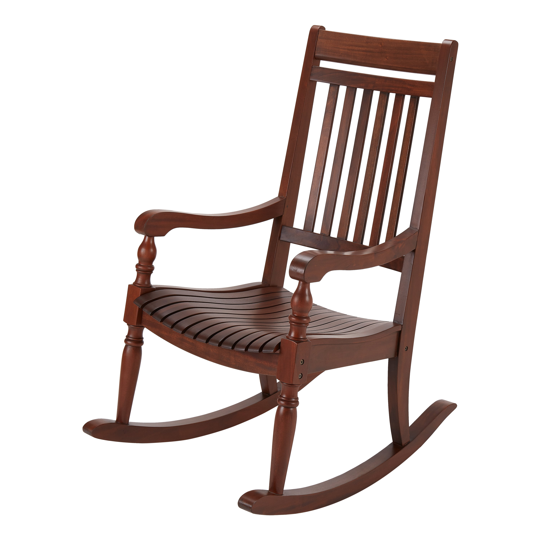 Better Homes Gardens Ridgely Slat Back Mahogany Rocking Chair Brown Walmart Com Walmart Com