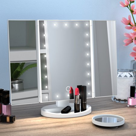 Ovonni Vanity Mkp Mirror Trifold 22 LED Lighted with Touch Screen, 2x/3x Magnification and 10x Magnifying Spot, Foldable 180°Adjustable Stand for Countertop Bathroom Cosmetic