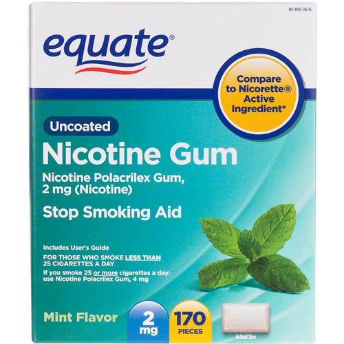 Equate Nicotine Polacrilex Gum 2Mg (Nicotine)/Stop Smoking Aid/Mint Nicotine Gum - 170 Ea