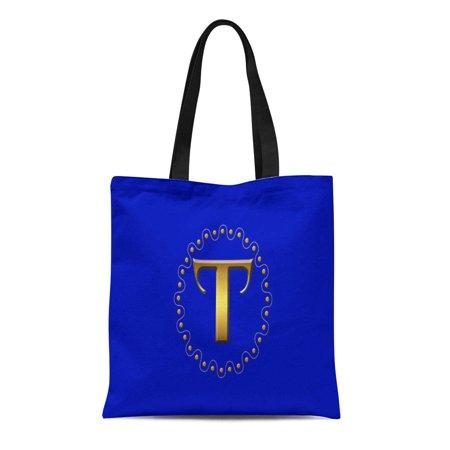 ASHLEIGH Canvas Tote Bag Letter Gold Block Dots Wave Blue Backgrou Initial Monogram Reusable Handbag Shoulder Grocery Shopping Bags](Initial Tote Bags)