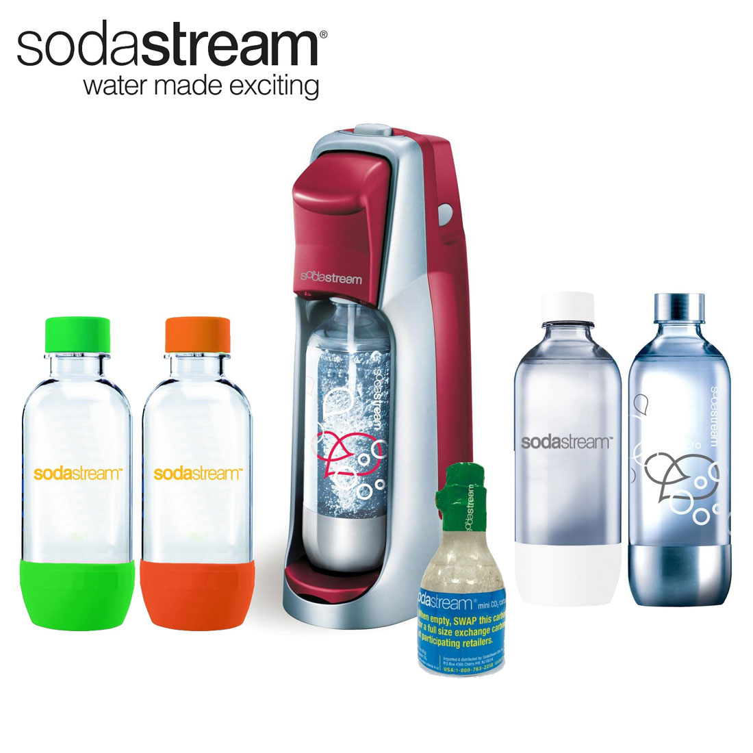 SodaStream Fountain Jet Soda Maker in Red w/ Exclusive Kit 4 Bottles & Mini CO2