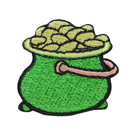 St Patrick's Day Pot Of Gold (ID 3313A Pot Of Gold Patch ST Patrick's Day Coins Embroidered Iron On)