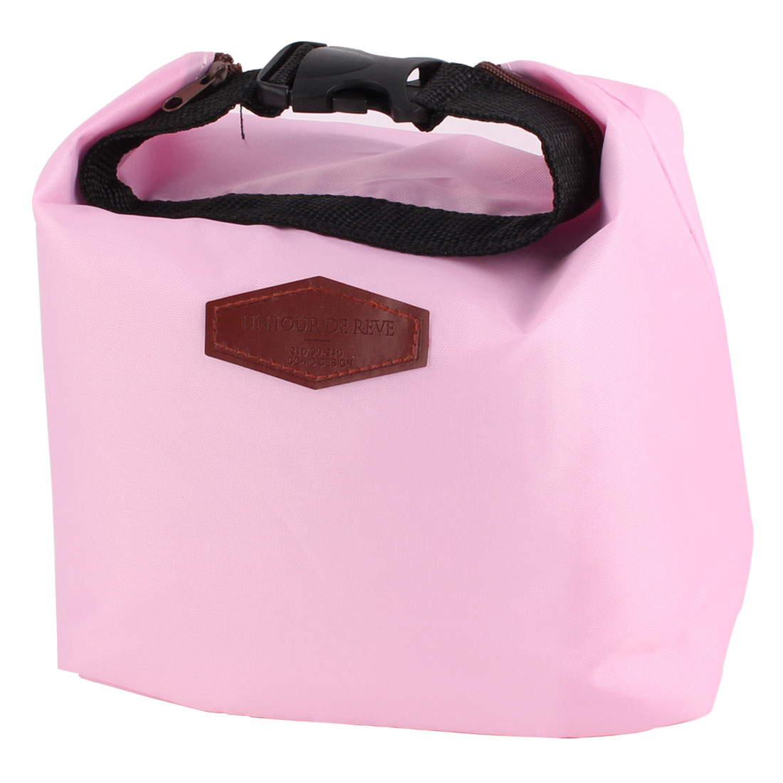 Office Worker Portable Buckle Thermal Cooler Insulated Lunch Bag Pouch Pink