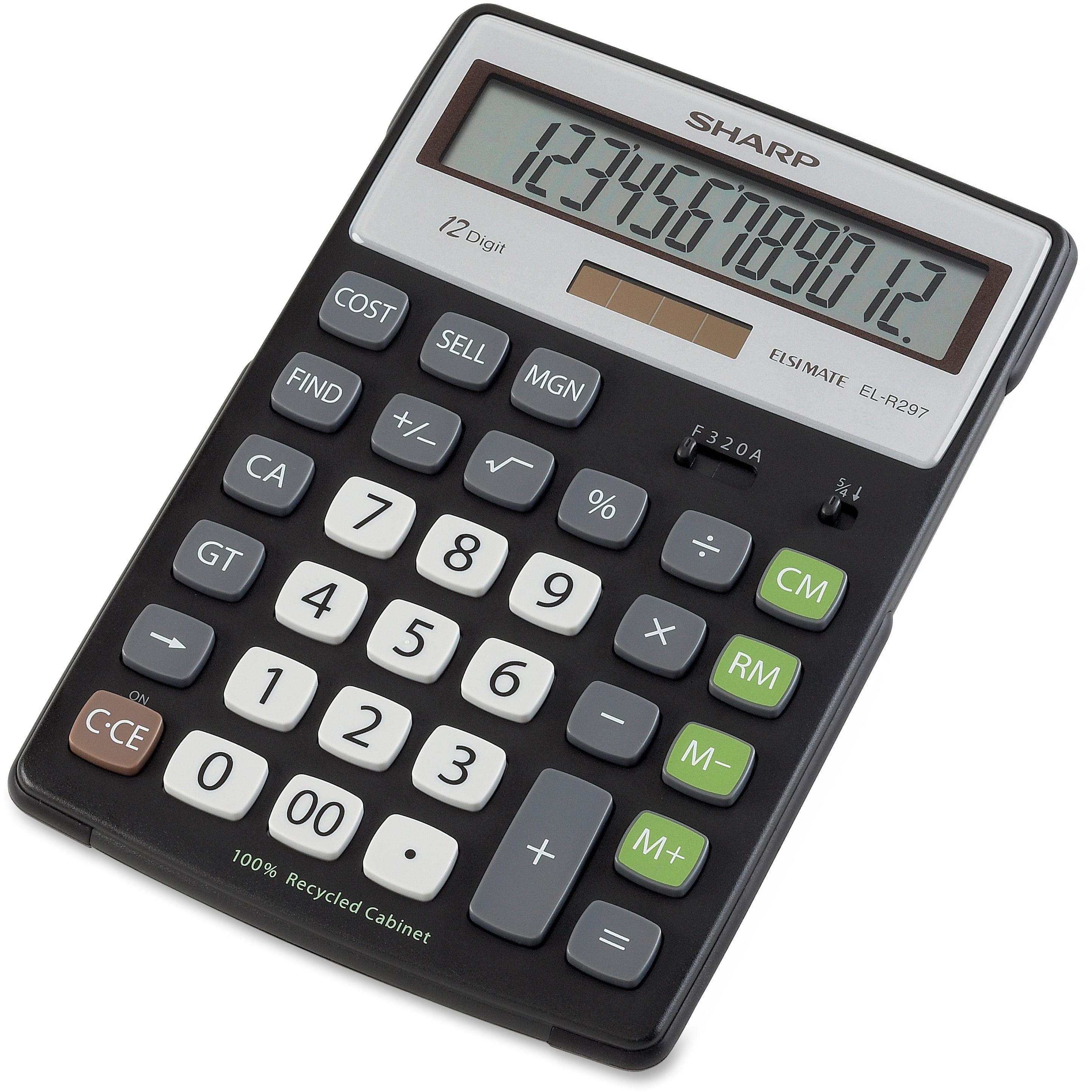 Sharp Calculators, SHRELR297BBK, EL-R297BBK 12-Digit Extra Large Desktop Calculator, 1 Each, Black