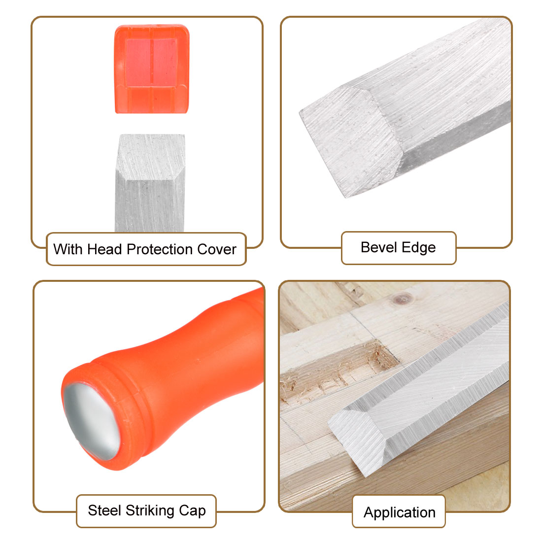 Wood Chisel for Carpentry 14mm Wide Flat Carving Carbon Steel PVC Hand Tool - image 1 of 3