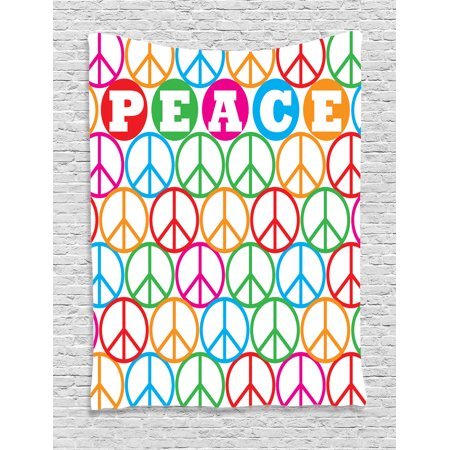 1960S Decor Wall Hanging Tapestry, Colorful Internationally Recognized Peace Symbol Sign With The Letters Counter Culture Print, Bedroom Living Room Dorm Accessories, By (Peace Symbol Poster)