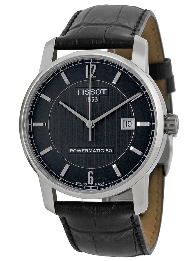 Classic Black Dial Black Leather Mens Watch T0874074605700