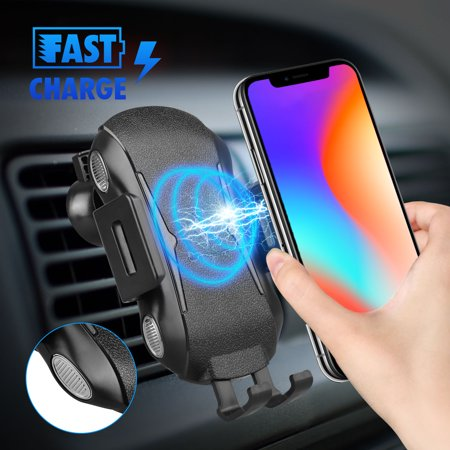 Automatic Console Shift Plate - EEEKit Automatic Clamping Wireless Car Charger Mount, 10W/7.5W Fast Charging Car Air Vent Phone Holder for iPhone Xs/Max/X/XR/8/8 Plus, Samsung Note 9/8, S10/S10E, S9/S9 Plus