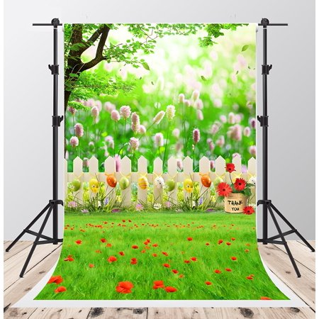 GreenDecor Polyester Fabric 5x7ft Spring Backdrops for Photography Red Flowers Colorful Eggs Background for Photo Booth Family Garden Backdrop - Backdrop For Photo Booth