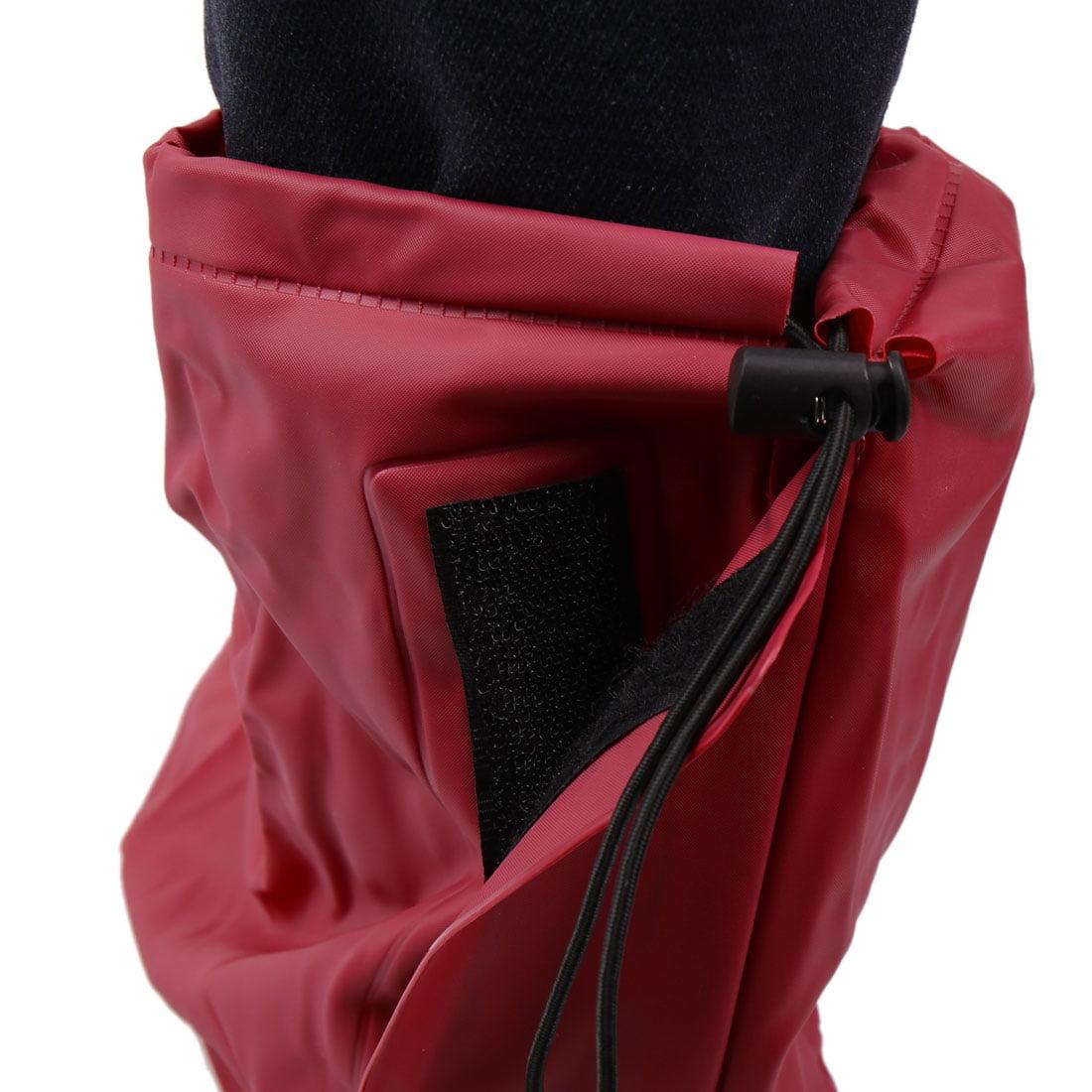1Pair Wine Red Motorcycle Nonslip Waterproof Adjustable Rain Shoes Boot Cover XL - image 2 de 5