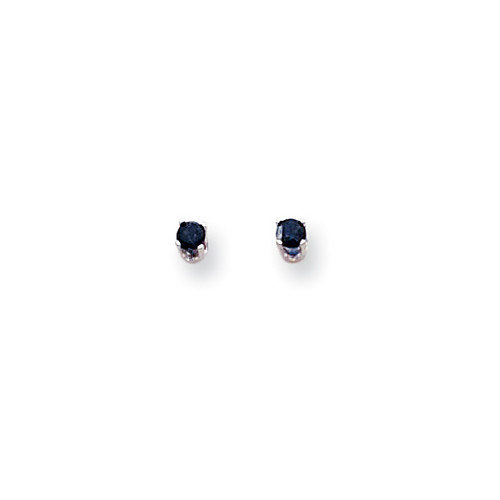 Jewelryweb 14k White Gold 3mm Sapphire Stud Earrings