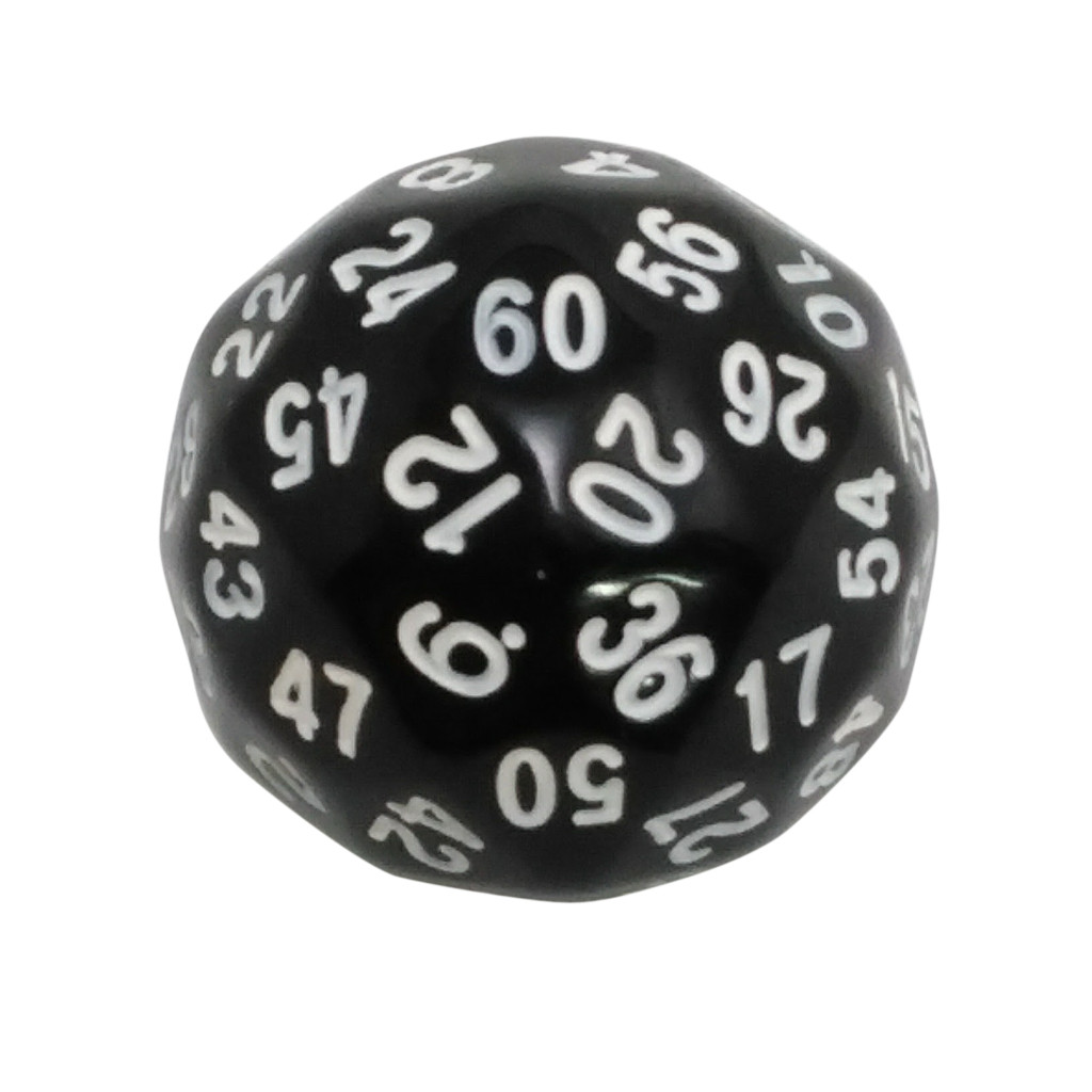 60 Sided Polyhedral Dice (D60)- 36mm - Solid Black Color- (1 each) -