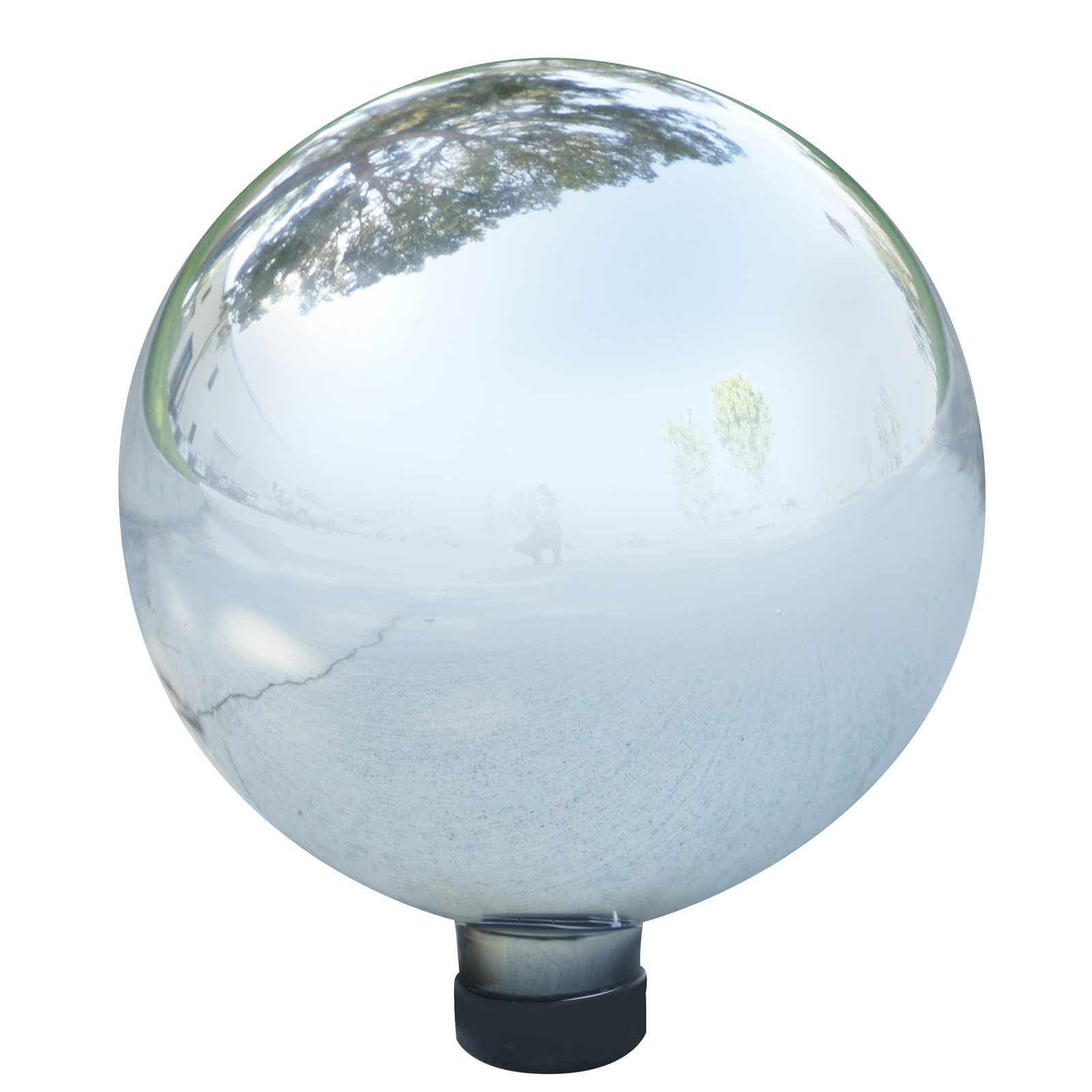 Alpine Reflective Silver Glass Gazing Globe, 11 Inch Tall