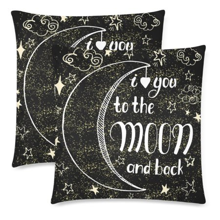 YKCG I Love You To the Moon and Back Quote Pillowcase Pillow Cushion Cover 18x18 Twin Sides for Couch Bed, Gold Stars Black Throw Zippered Pillow Case Shams Decorative, Set of 2 ()