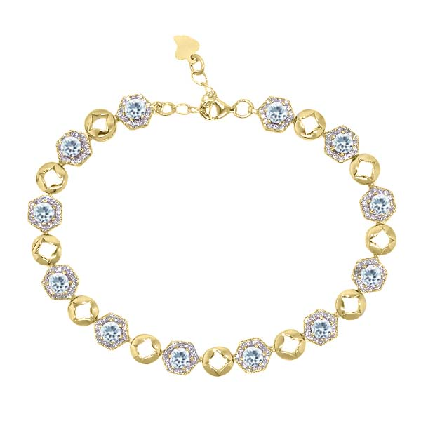 5.45 Ct Sky Blue Aquamarine 18K Yellow Gold Plated Silver Bracelet by