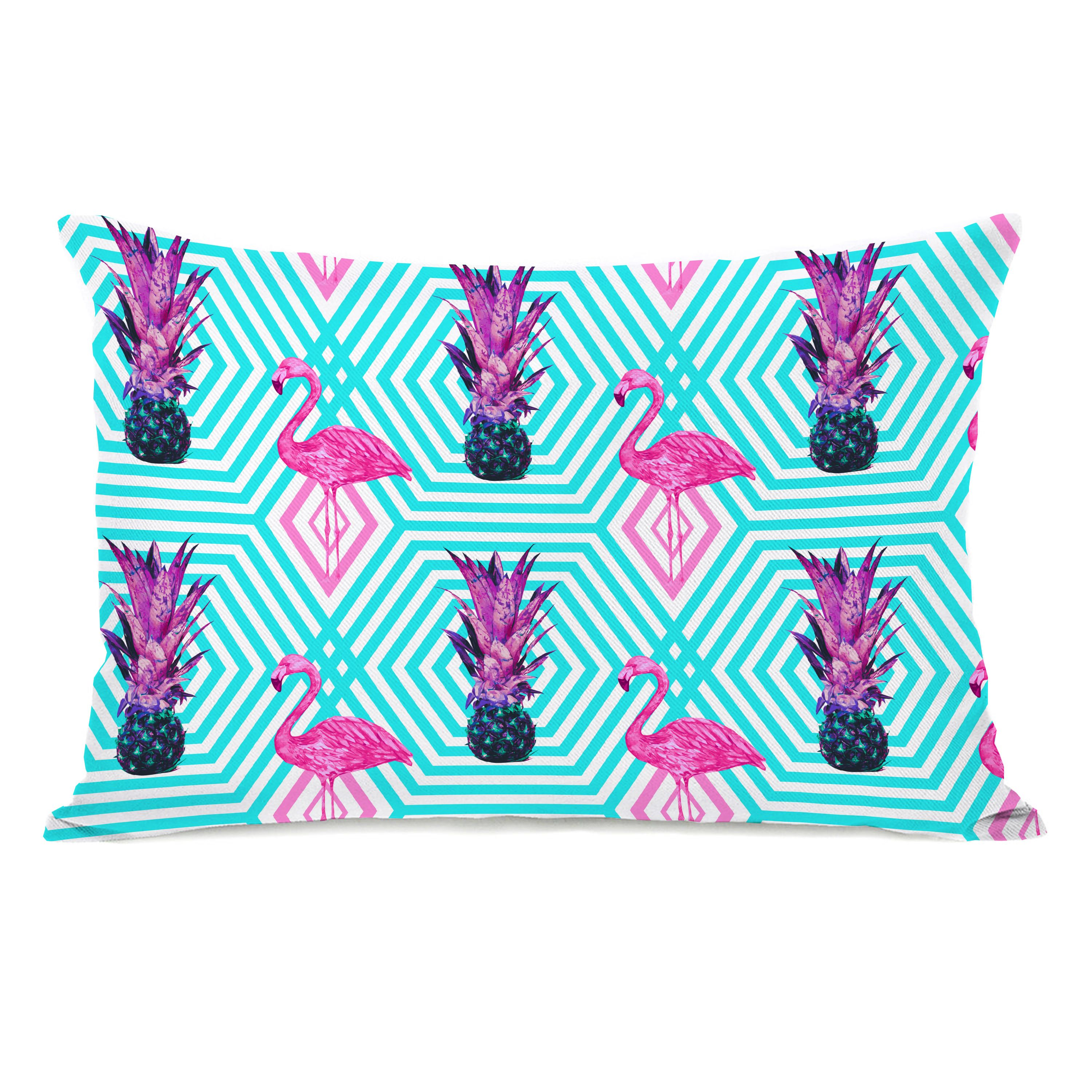Tropical Flamingo Pineapple Print - Multi 14x20 Pillow by OBC