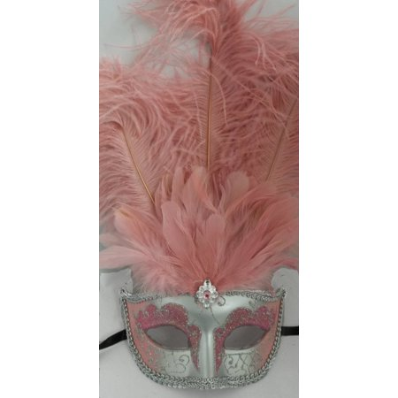 Light Pink Silver Venetian Mask Feather Masquerade Costume Prom - Masquerade Prom