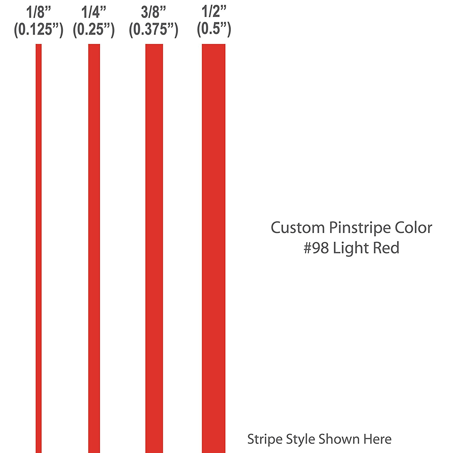 1 4� inch wide Pinstripes.   LIGHT RED   car truck auto vehicle door boat bike vinyl sticker pin strip... by 1060 Graphics