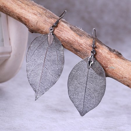 Real Gold Leaf - iLH Mallroom 1 Pair Women Long Natural Real Dipped Leaf Leaves Dangle Earrings Ethic Jewelry
