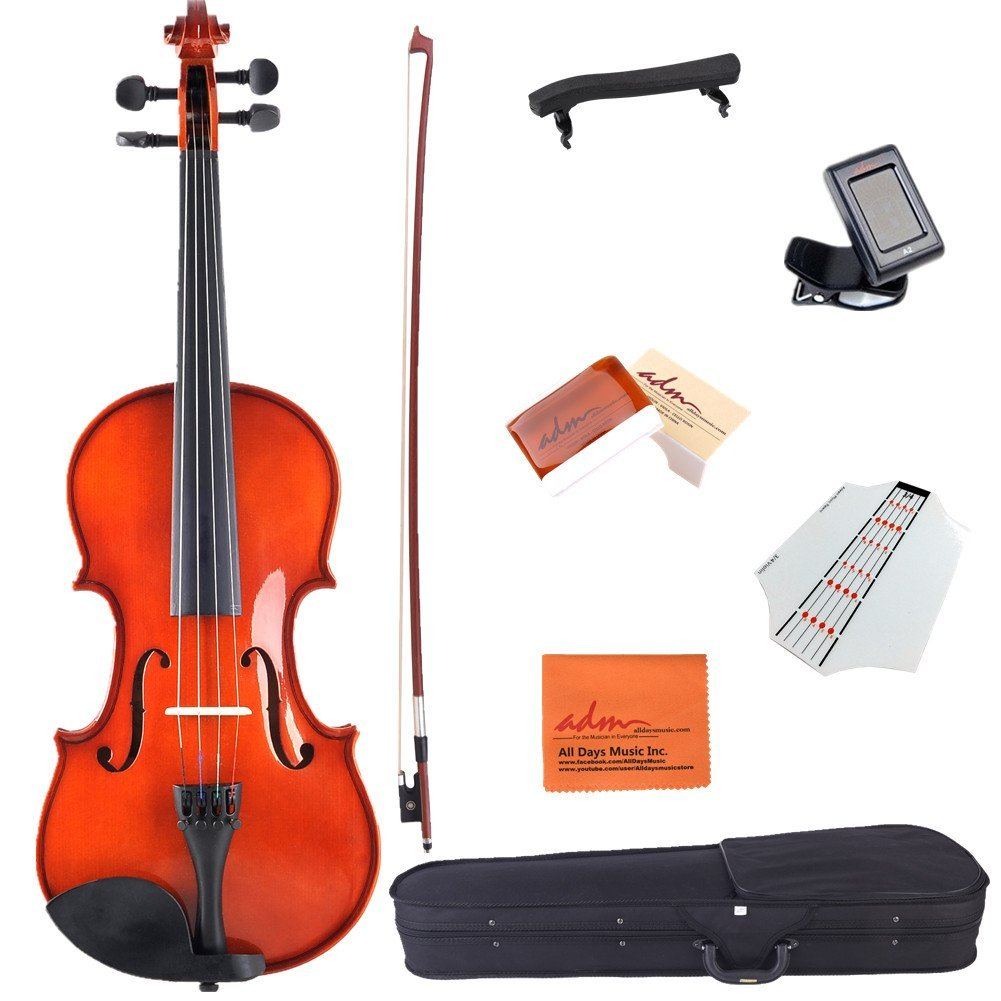 ADM 3/4 Size Handcrafted Solid Wood Student Acoustic Violin Starter Kit, Red Brown