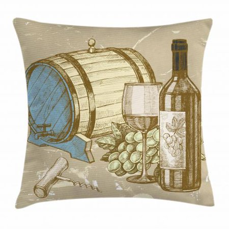 Wine Throw Pillow Cushion Cover, Vintage Hand Drawn Style IIlustration of Wine Barrel Bottle and Glass with Grapes, Decorative Square Accent Pillow Case, 16 X 16 Inches, Multicolor, by Ambesonne ()