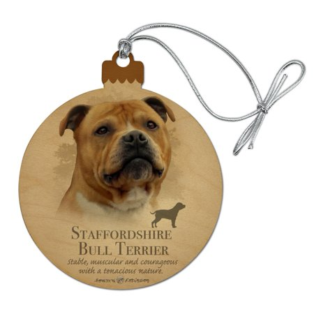 Staffordshire Bull Terrier Dog Breed Wood Christmas Tree Holiday Ornament Personalized Dog Breed Ornament