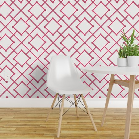 Peel-and-Stick Removable Wallpaper Pink Bamboo Geometric Bamboo Grass Cloth Wallpaper