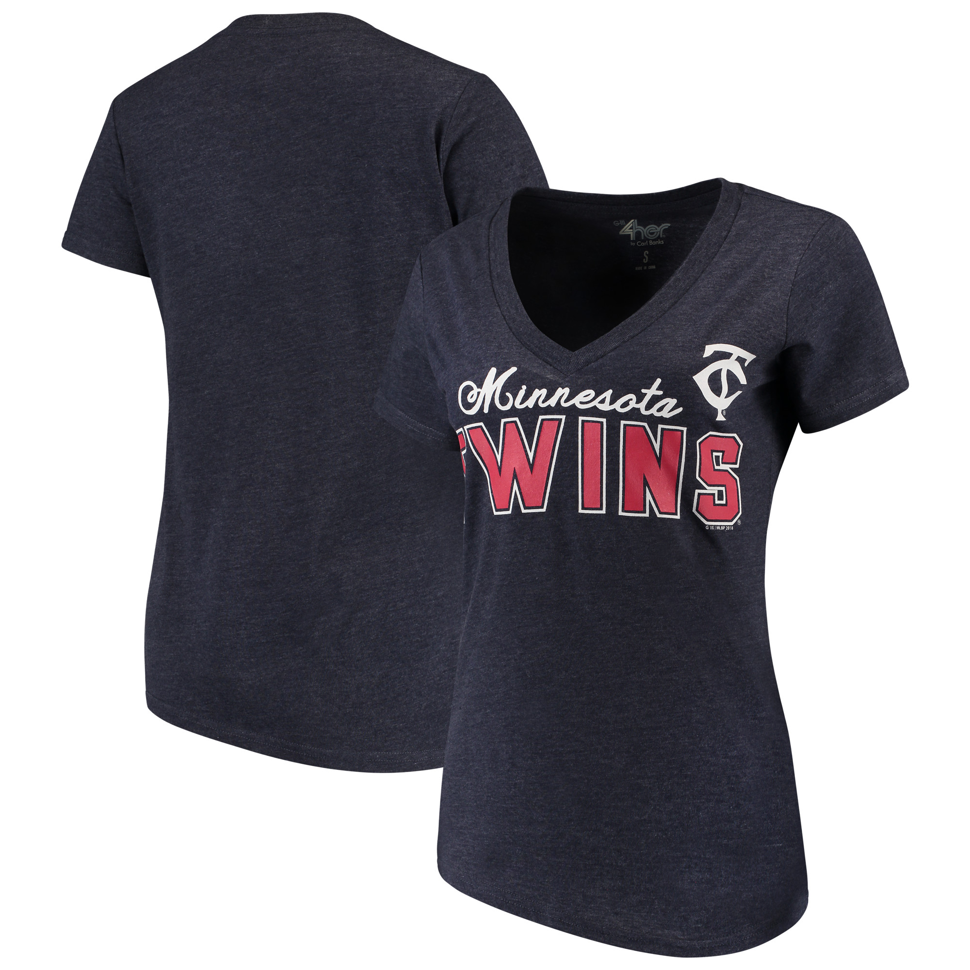 Minnesota Twins G-III 4Her by Carl Banks Women's Home Run V-Neck T-Shirt - Navy