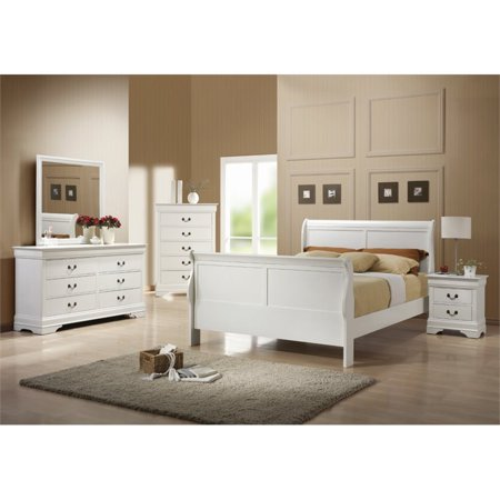 Coaster Louis Philippe 5 Piece Queen Sleigh Bedroom Set in White