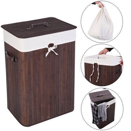 Laundry Basket For Home Dark Brown Single Lattice Bamboo Slim