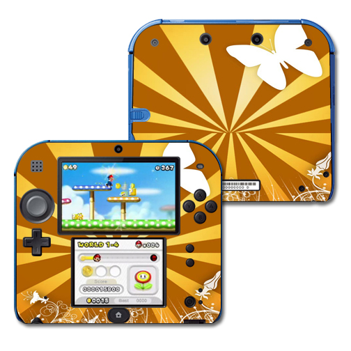 Mightyskins Protective Vinyl Skin Decal Cover for Nintendo 2DS wrap sticker skins Brown Butterfly