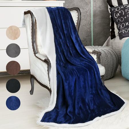 Sherpa Blanket, Fleece Throw Blanket Reversible Bed Throw TV Blanket, Super Soft Micro Mink Fleece Couch Blanket by Catalonia 60