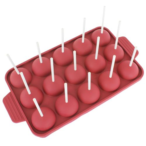 Freshware 15-cavity Silicone Mold for Cake Pop, Hard Candy, Lollipop and Party Cupcake with 24-count Paper Sticks