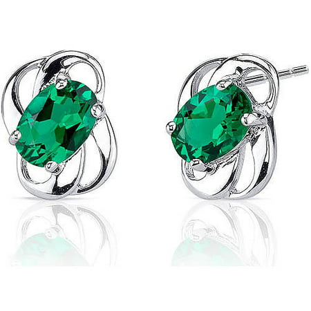 1.50 Carat Oval-Shape Simulated Emerald Rhodium over Sterling Silver Stud Earrings