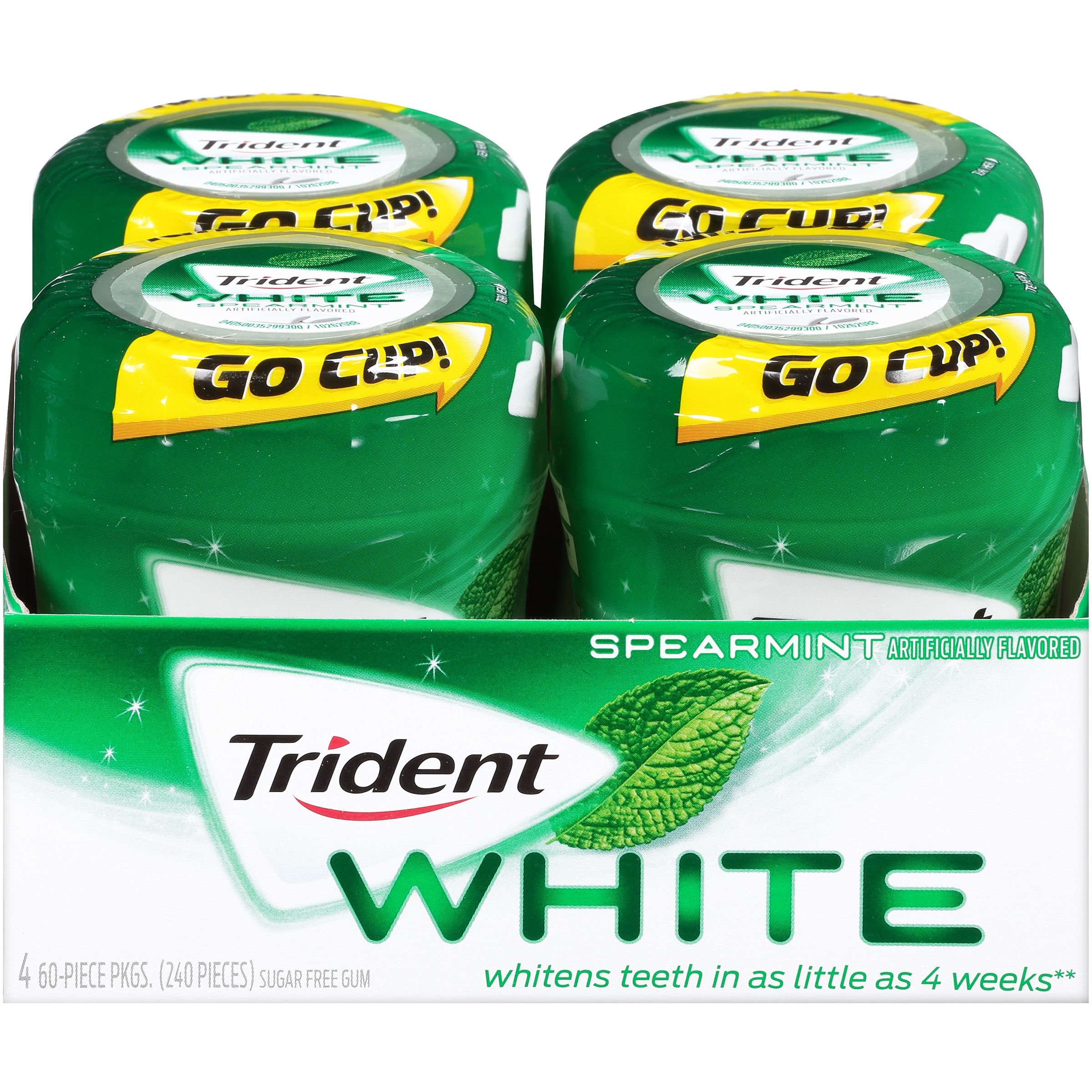 Trident White, Sugar Free Unwrapped Spearmint Chewing Gum, 60 Pcs, 4 Ct