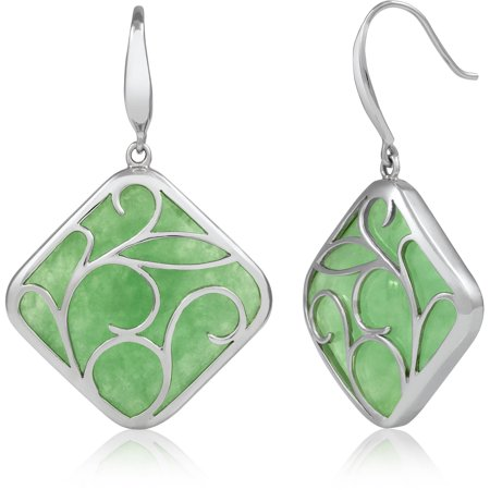 Natural Green Jade Sterling Silver Swirl Drop Dangle Earrings