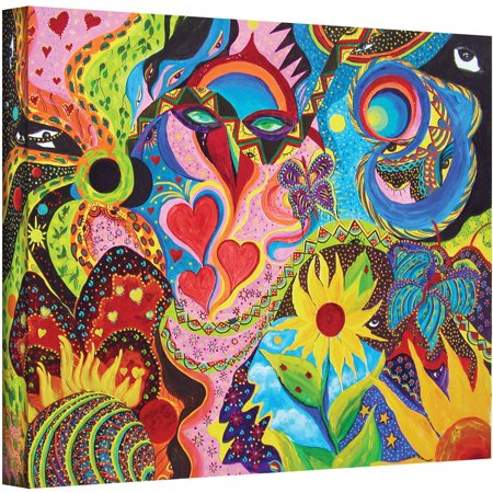 Artwall Marina Petro  Hearts And Flowers  Gallery Wrapped Canvas