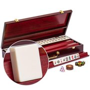 Yellow Mountain Imports American Mahjong Set - The Classic - with 166 Tiles, a Vintage Rosewood Veneer Case, Four Wooden Racks, Wind Indicator, Dice  Wright Patterson Count Scoring Coins