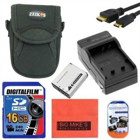 Intermediate Accessory Kit for Nikon Coolpix AW100 AW110 P310 S6300 S800C S8100 S8200 S9100 S9200 S9300 Digital Camera - Includes ENEL12 Battery & Charger + 16GB SD Memory Card+ Deluxe Carrying Case +