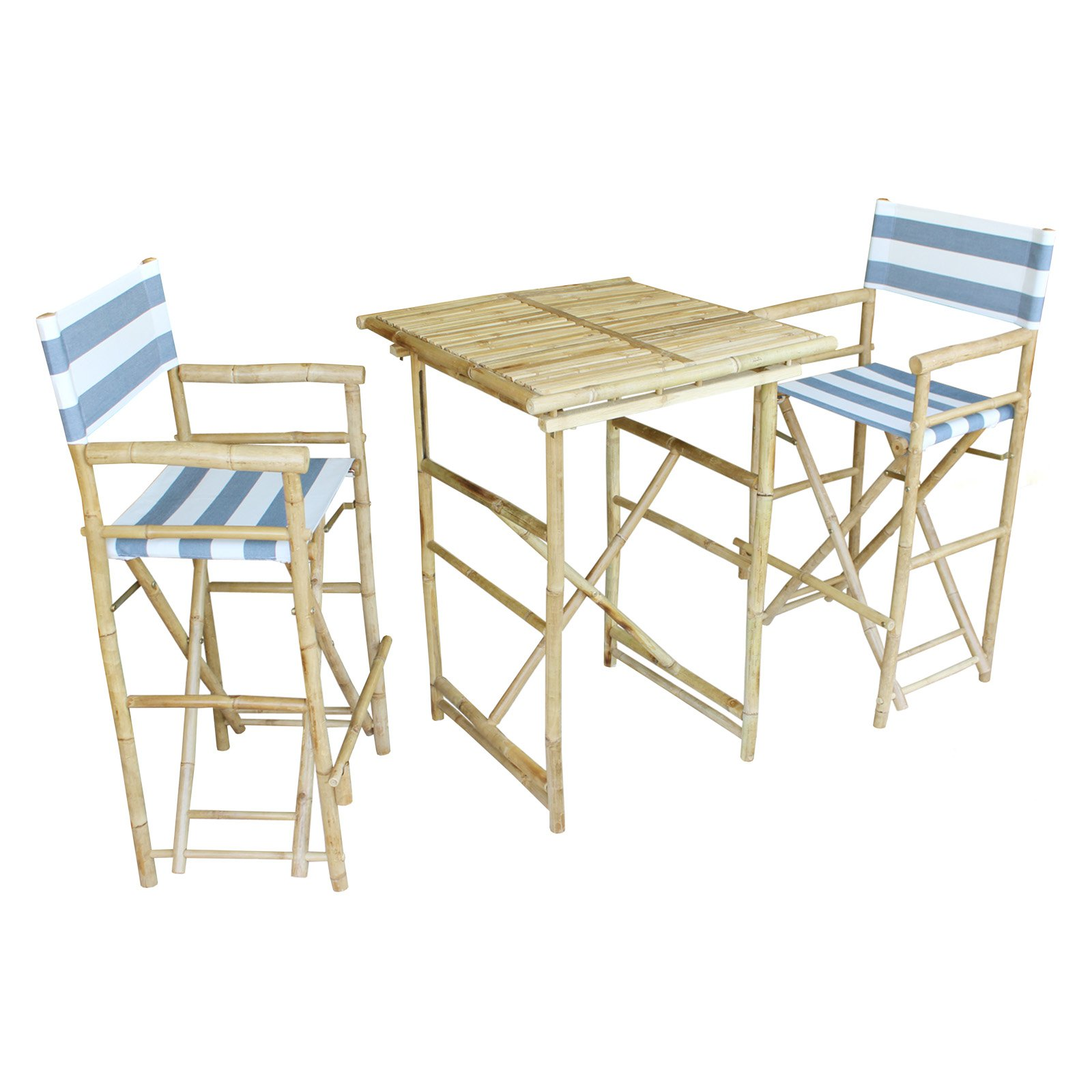 Zew Hand Crafted 3 Piece Square Folding Bamboo Bar Height Patio Dining Set