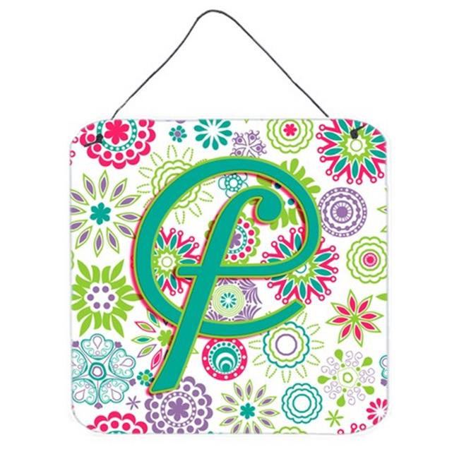 Carolines Treasures CJ2011-FDS66 Letter F Flowers Pink Teal Green Initial Wall and Door Hanging Prints - image 1 of 1