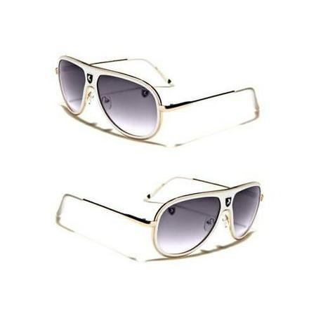 80's Mens Retro Vintage Classic Fashion Designer Aviator Sunglasses (White Clubmaster Sunglasses)