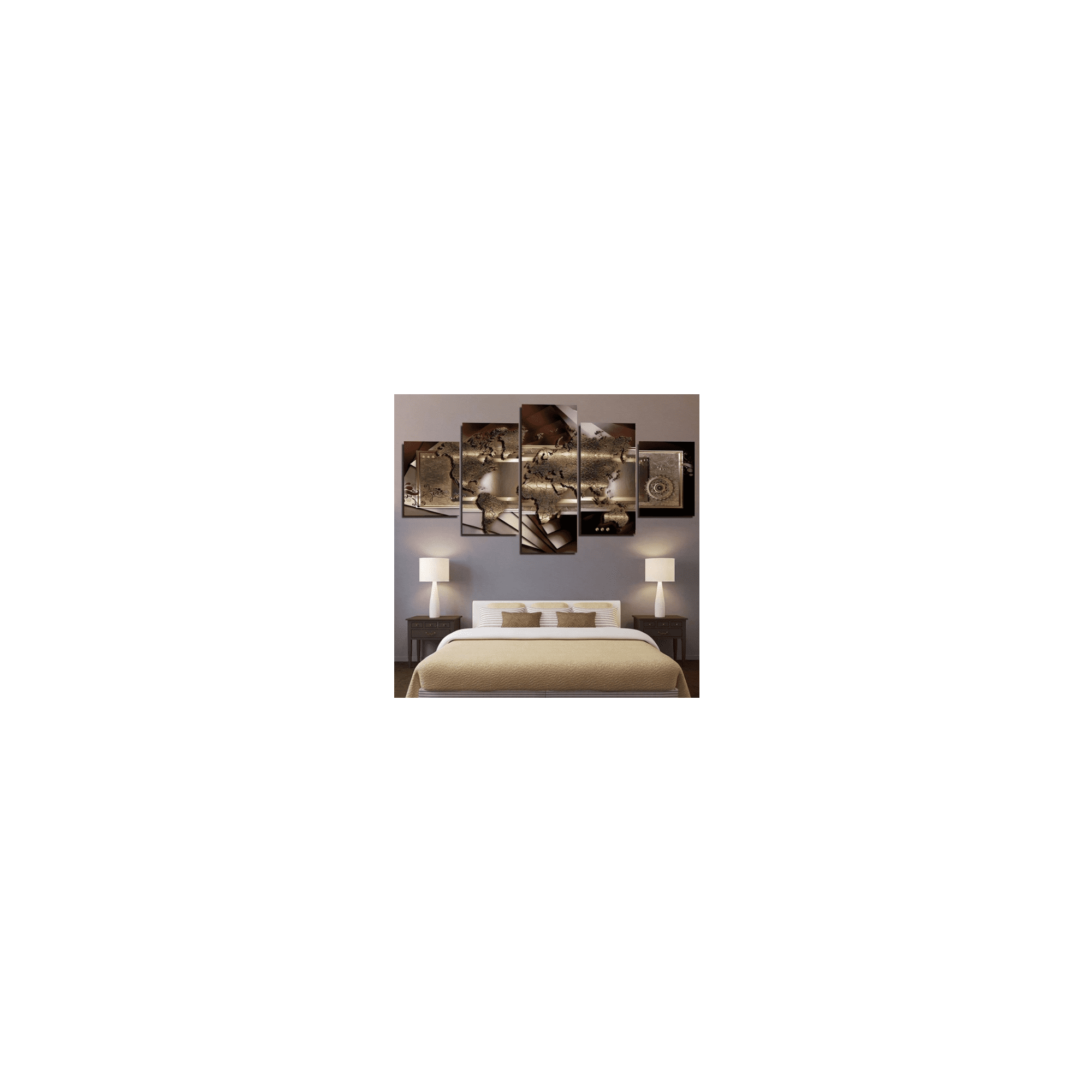 5 Panels Wall Art Modern Map