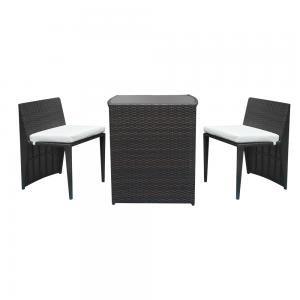 Rattan Bar Furniture - 2Pcs Bar Chairs 1Pcs Bar Table Rattan Chair Set Patio Furniture Set Brown Gradient
