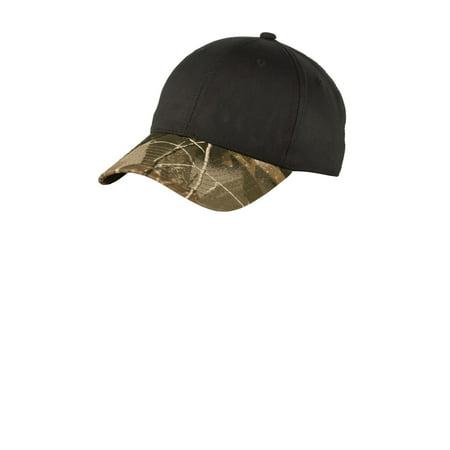 Port Authority C931 Twill Cap with Camouflage Brim, Black/ Realtree Hardwoods, OSFA